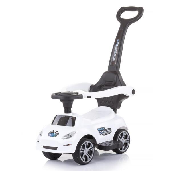 Кола за яздене с дръжка Турбо бяла