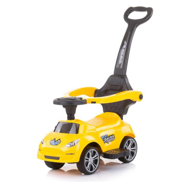Кола за яздене с дръжка Турбо жълта