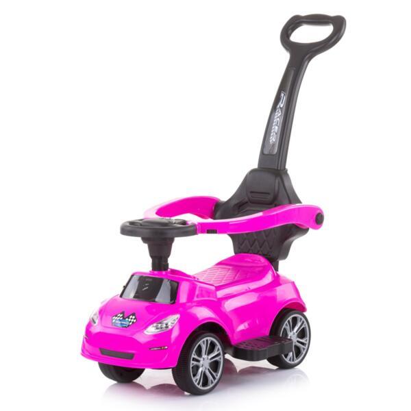Кола за яздене с дръжка Турбо розова