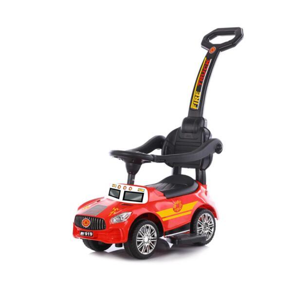 Кола за яздене с дръжка Пожарна червена