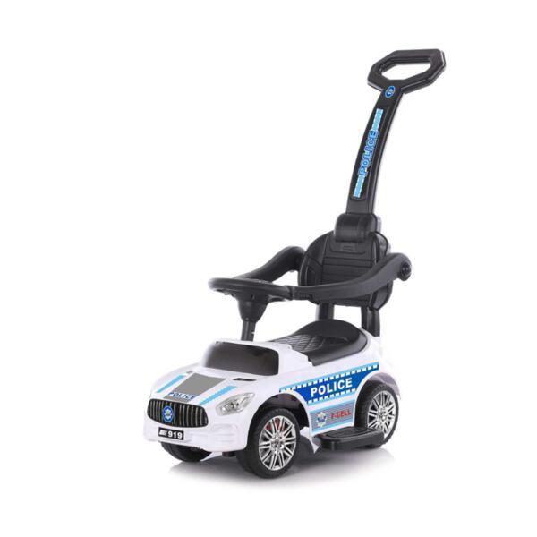 Кола за яздене с дръжка Полиция бяла