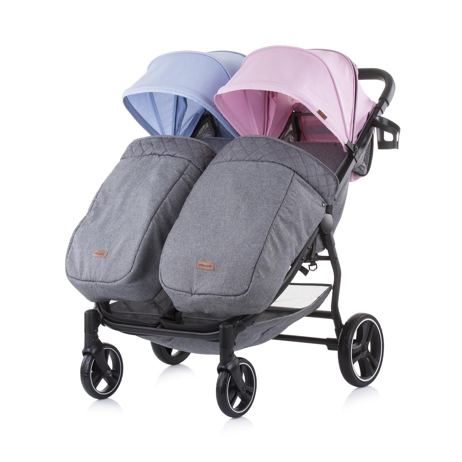 Chipolino Количка за близнаци 2Classy синьо/розово