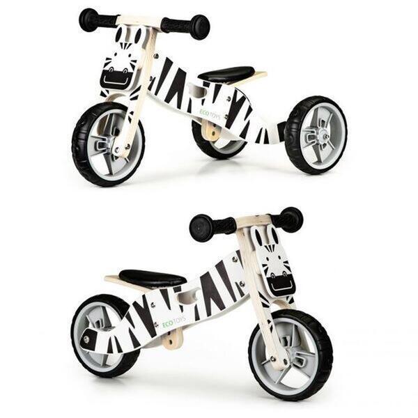 Дървено колело за баланс 2 в 1 FUNBEE - Зебра