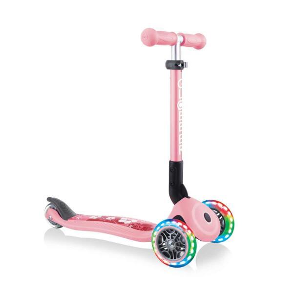 Тротинетка със светещи колела Globber Junior Fantasy Lights, пастелно розова