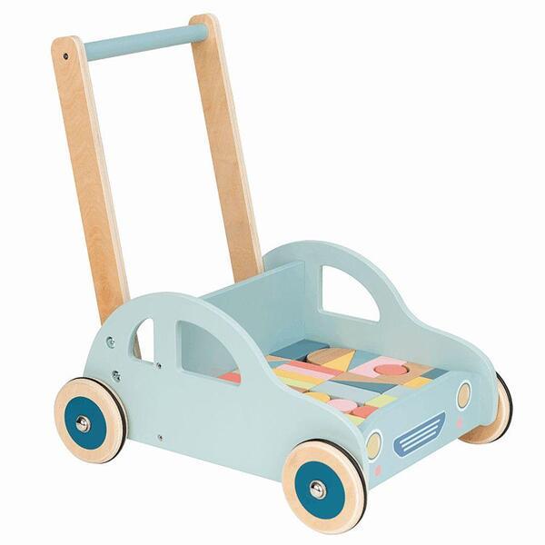 Lelin Toys, Дървена количка за прохождане, с конструктор автомобил