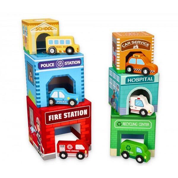 Lelin Toys, Kартонени кубчета с дървени превозни средства