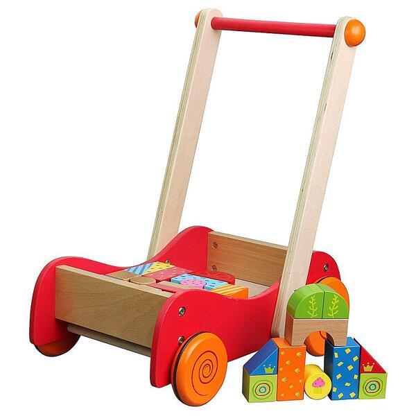 Lelin Toys, Дървена количка за прохождане, с конструктор, 30 части