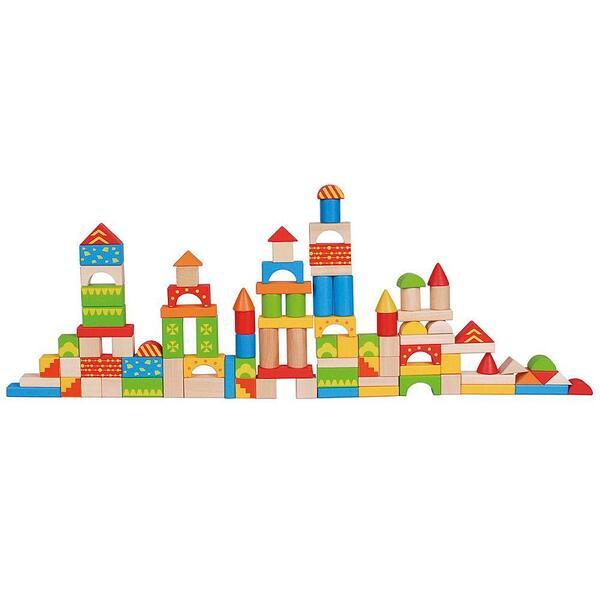 Lelin Toys, Дървен конструктор в кофа, 100 части
