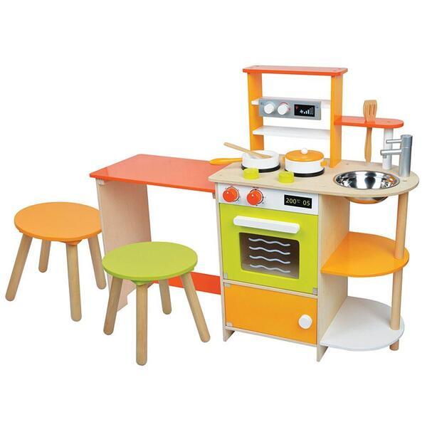 Lelin Toys, Детска дървена кухня, с трапезария