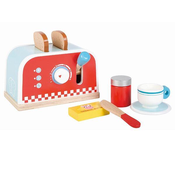 Lelin Toys, Дървен детски тостер, с комплект за закуска