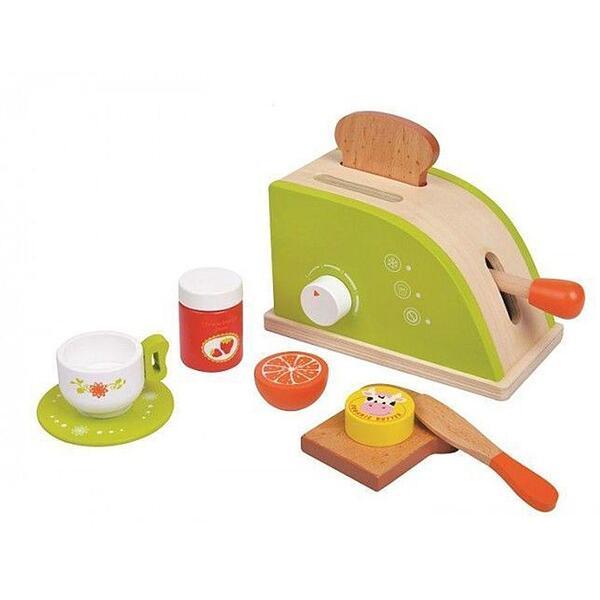 Lelin Toys, Дървен детски тостер с продукти за закуска