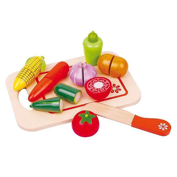 Lelin Toys, Дървени зеленчуци за рязане, с дъска