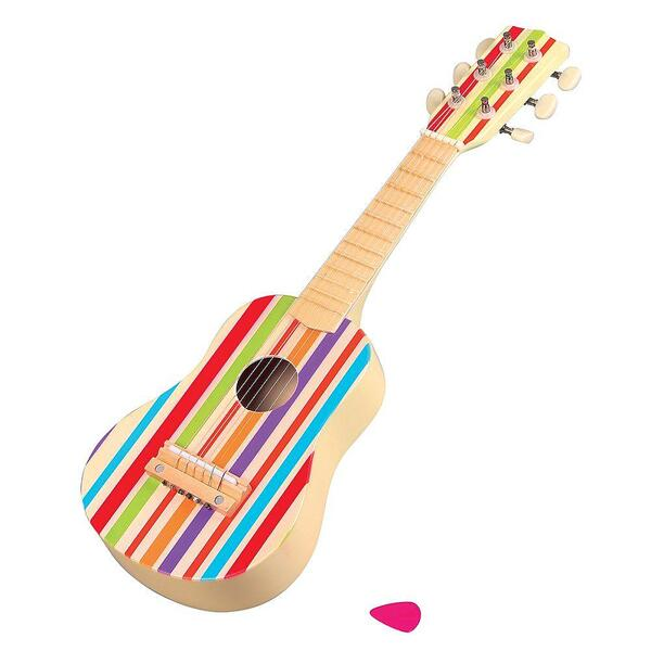 Lelin Toys, Дървена детска китара с цветни ленти