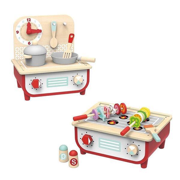Tooky Toy, Детска дървена кухня и барбекю, 2 в 1