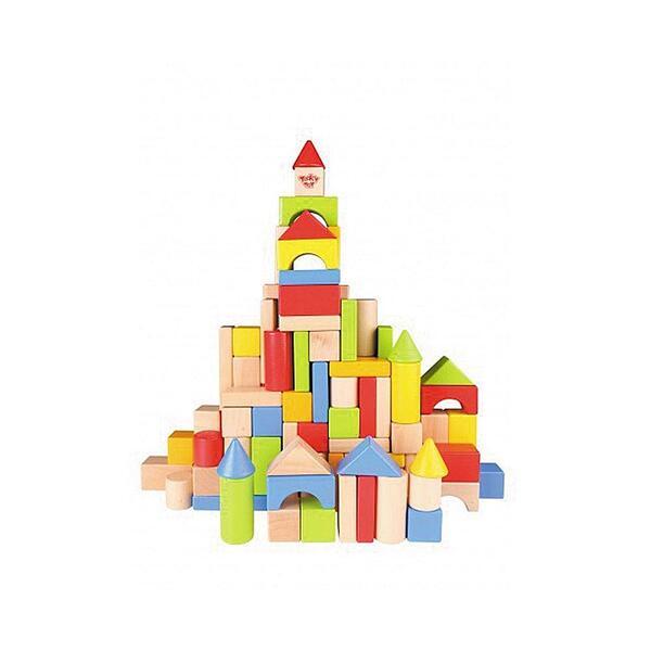 Tooky Toy,Дървен конструктор в кофа, 100 части