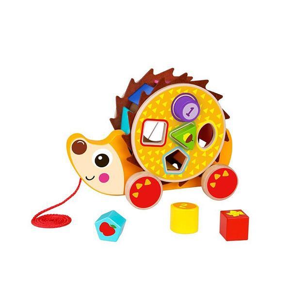 Tooky Toy, Дървена играчка за дърпане, със сортер, Таралеж