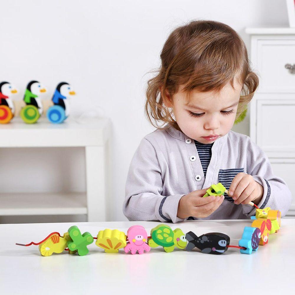 Tooky Toy, Комплект дървени фигурки за нанизване, Морски свят