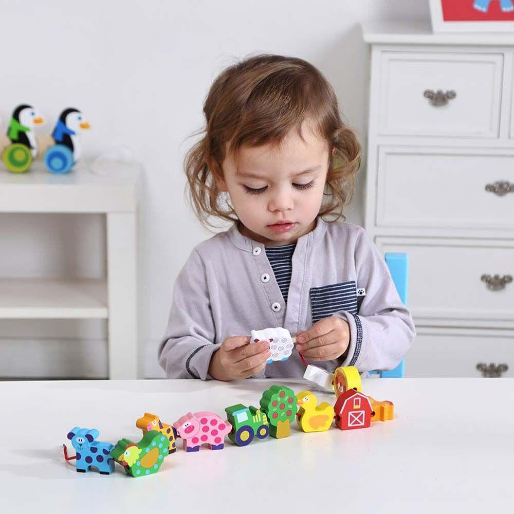 Tooky Toy, Комплект дървени фигурки за нанизване, Ферма