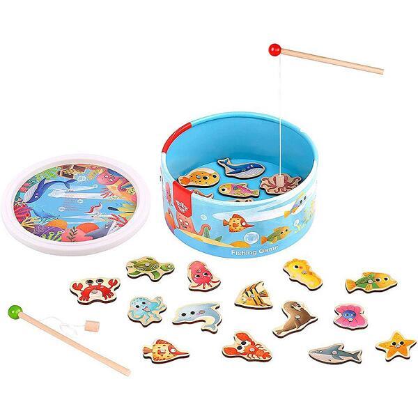 Tooky Toy, На лов за рибки - дървен риболов в кръгла кутия