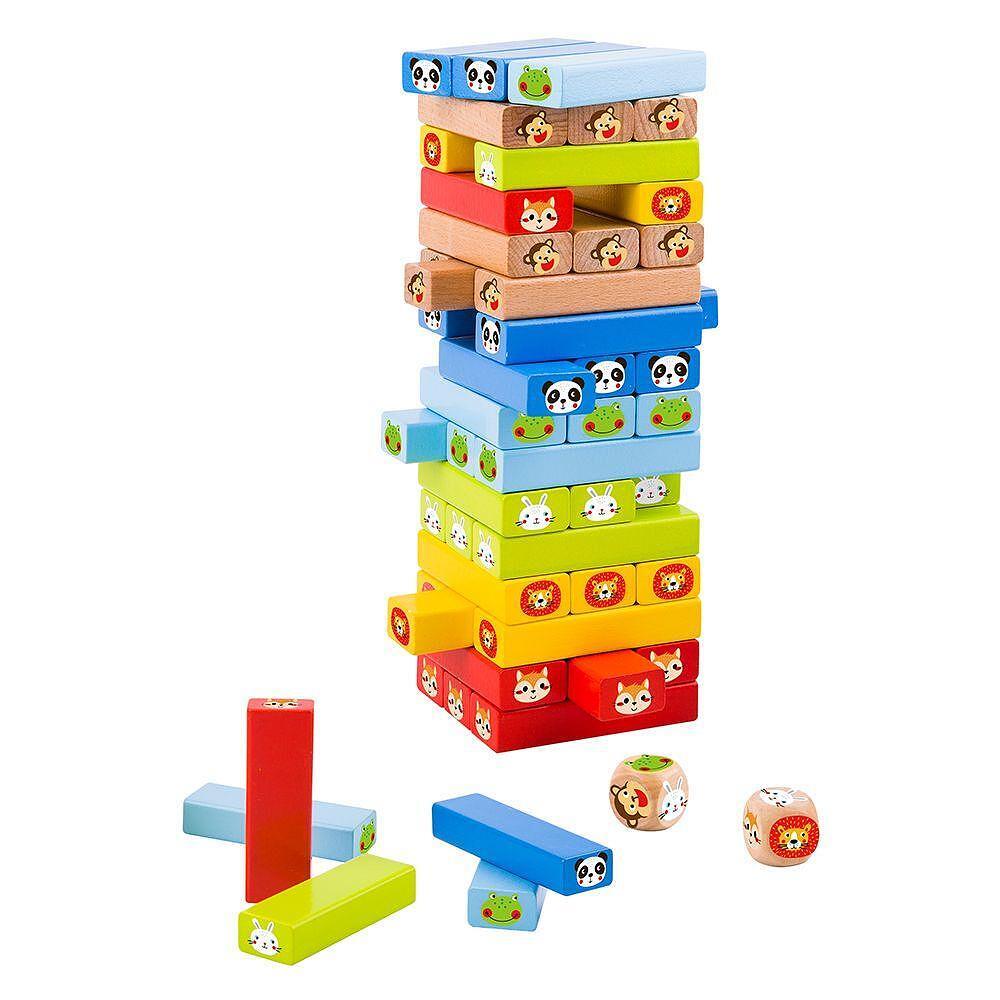 Tooky Toy, Дървена цветна дженга със зарче, Животни