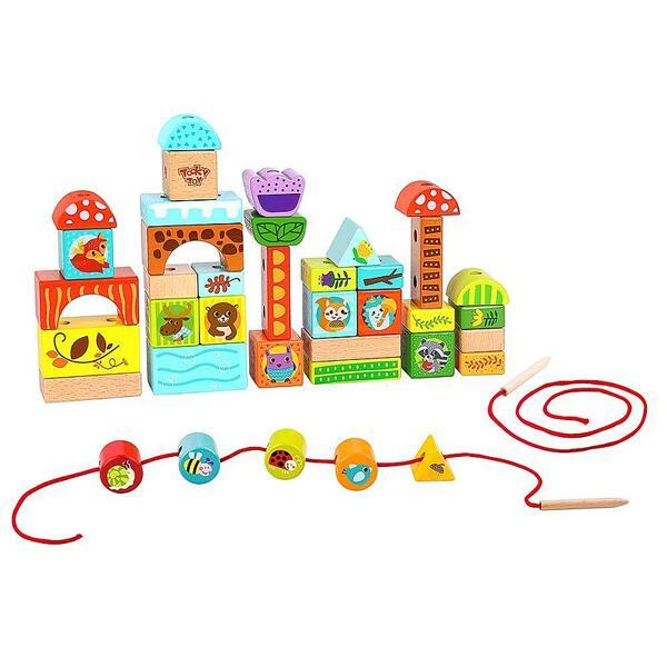 Tooky Toy, Дървен конструктор и игра за нанизване Вълшебна гора