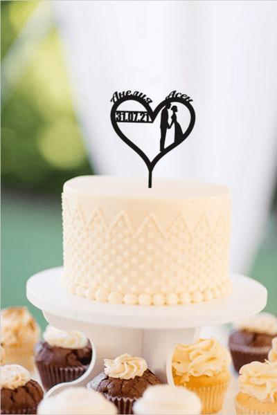 Топер за Сватбена Торта с Имена и Дата