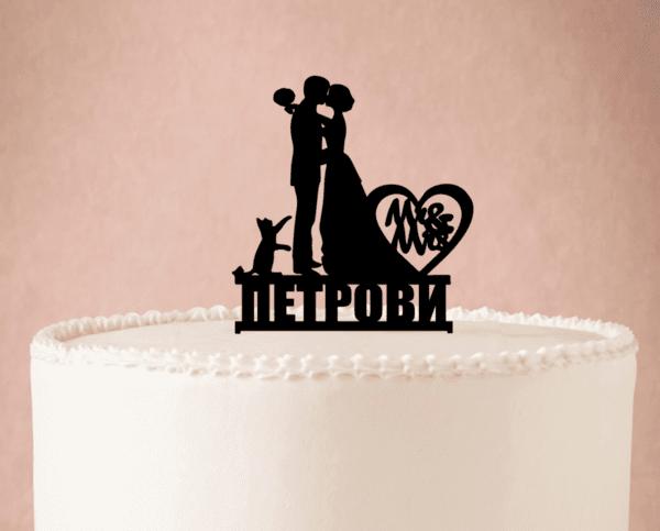 Топер за Сватбена Торта Cat Lovers
