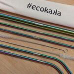 Комплект метални сламки за многократна употреба от неръждаема стомана, Rainbow, Ecokaka