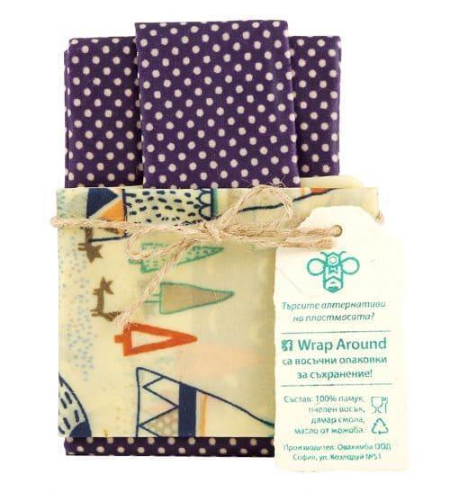 Восъчни кърпи за съхранение на храна, Wrap Around, 3 размера
