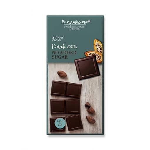 Био Натурален Шоколад  80%, без добавена захар, Benjamissimo, 70 g