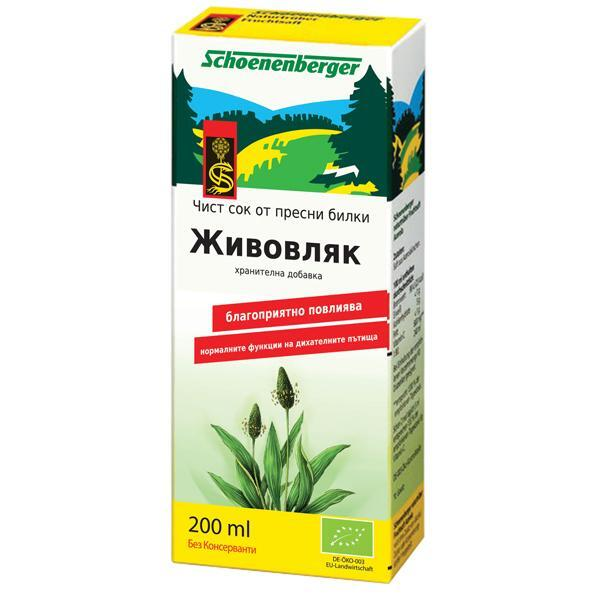 Био Сок от Живовляк, Био, Schoenenberger, 200 ml