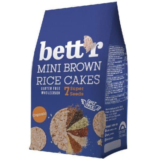 Bett`r Мини Оризовки от кафяв пълнозърнест ориз със 7 супер семена, 50г