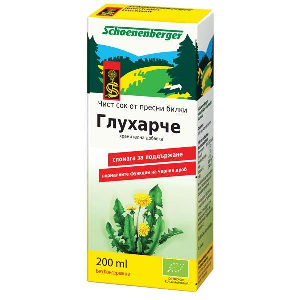 Био Сок от Глухарче, Schoenenberger, 200ml
