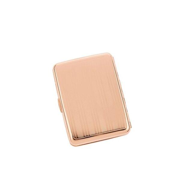Табакера WinJet, линиран дизайн, за 14 цигари, 85мм, розово злато