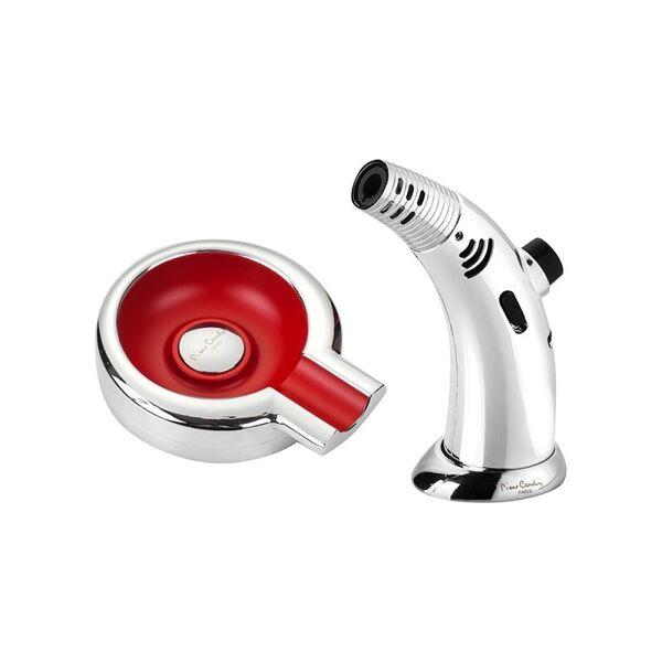 Комплект запалка и пепелник за пури - Pierre Cardin - червено/хром