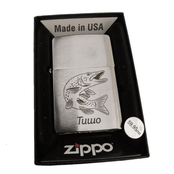 Запалка Zippo 200 Plain Brushed Chrome, С ГРАВЮРА