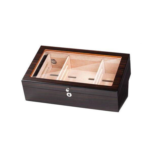 Луксозна кутия за пури (хумидор) със стъклен капак.