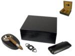 Кутия за пури (хумидор) WinJet, с пепелник, резачка и калъф за пури, черна