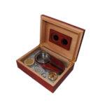Кутия за пури (хумидор) ZORR, с пепелник и резачка, кафява