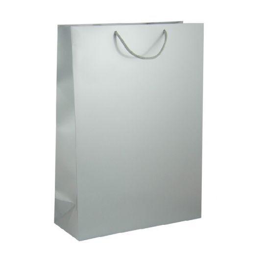 Подаръчна торбичка, сребриста, размер XL