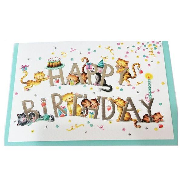 """Поздравителна картичка """"Happy Birthday - Cats"""""""