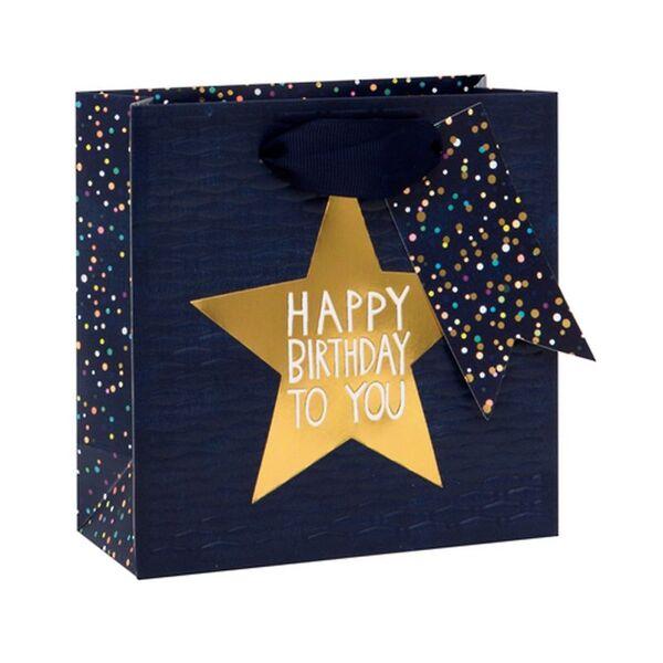 Подаръчно пликче Happy Birthday to you, тъмносиньо 14 x 14 x 6 см