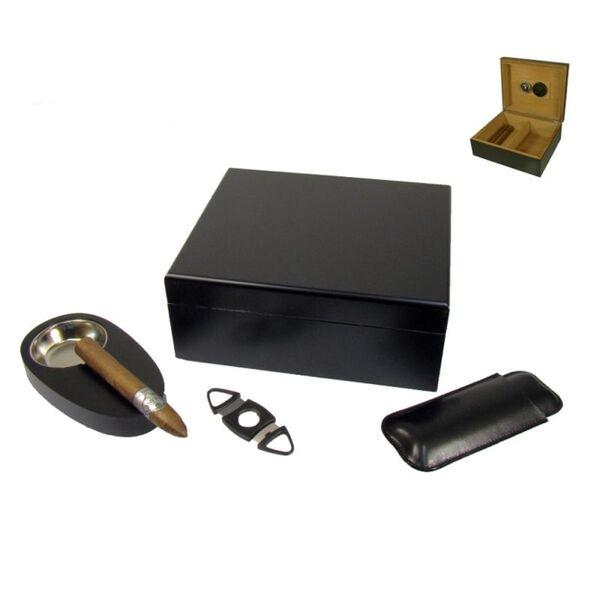 Кутия за пури (хумидор) Angelo, с пепелник, резачка и калъф за пури, черна
