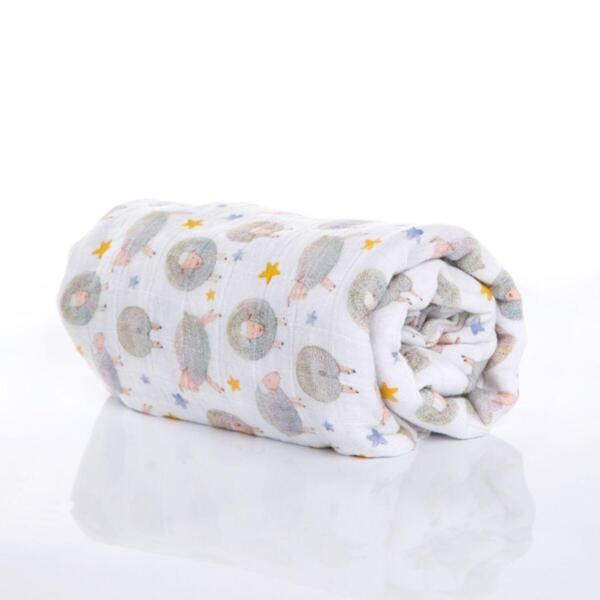 Меко одеяло от органичен муселин Dreamy Sheep