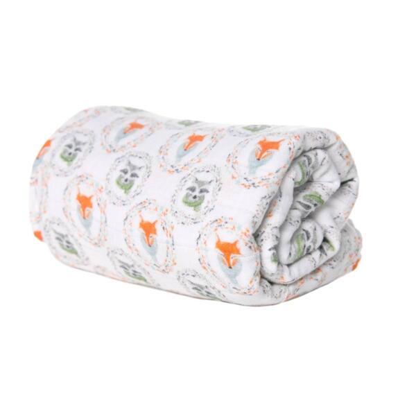 Меко одеяло от органичен муселин Fox and Racoon