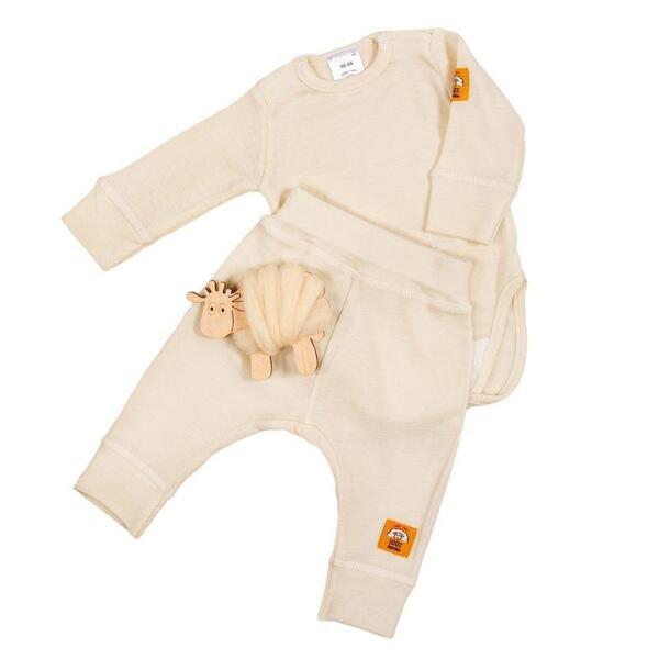 Бебешки комплект боди и панталонки 100% фино мерино, екрю