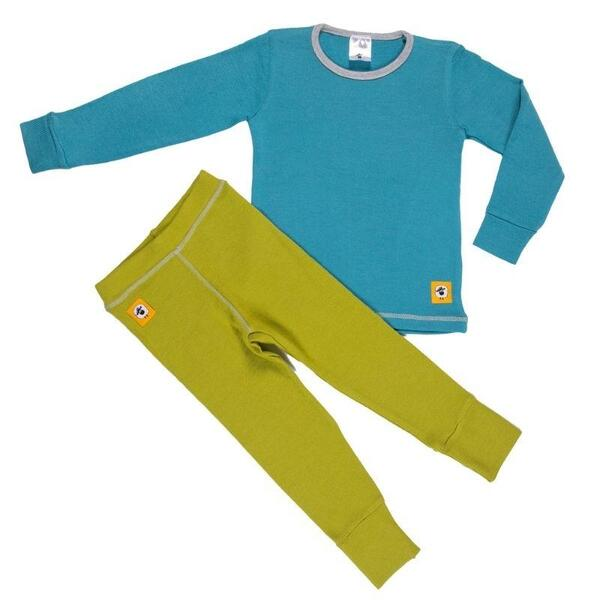 Детски комплект 100% мерино - блуза и клин в синьо и зелено