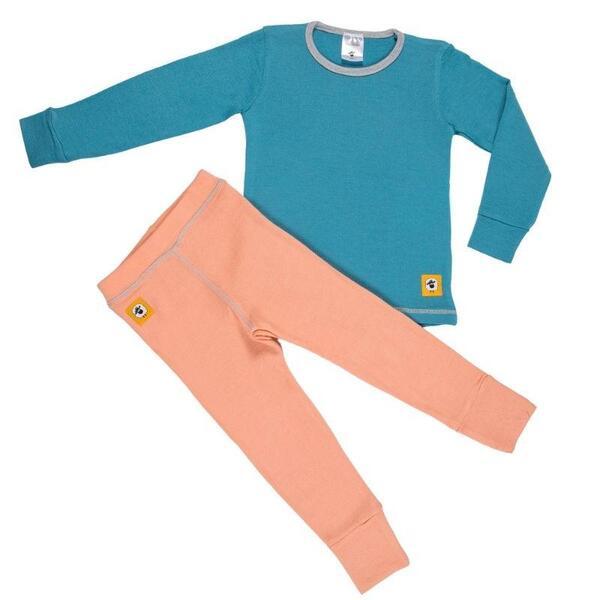 Детски комплект 100% мерино - блуза и клин в синьо и розово