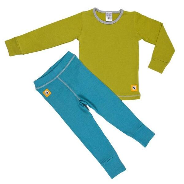 Детски комплект 100% мерино - блуза и клин в зелено и синьо