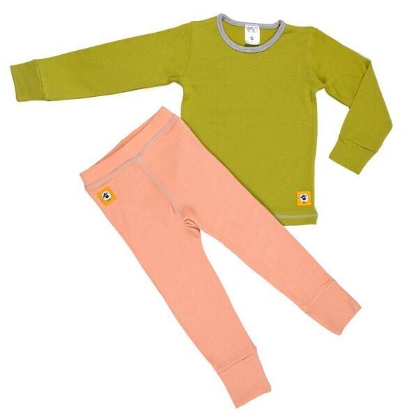 Детски комплект 100% мерино - блуза и клин в зелено и розово